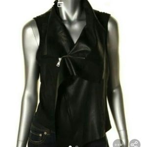 Faux Leather Zippered Top